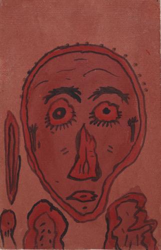 """Gaston Chaissac """"Portrait aux yeux ronds"""" 1941 guaix sobre paper 24 x 15,5 cm"""