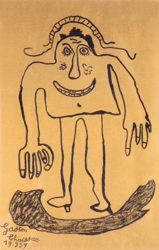 "Gaston Chaissac ""Bonhomme"" 1959 tinta sobre paper Kraft 99 x 65 cm"