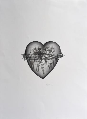 "Vicenç Viaplana, ""Sense títol"", 1976 llapis i transfer sobre paper 65 x 47,5 cm"