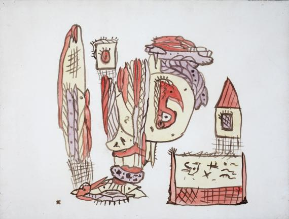 """Gaston Chaissac """"Composition"""" 1942 gouache and ink on paper 50 x 66 cm"""