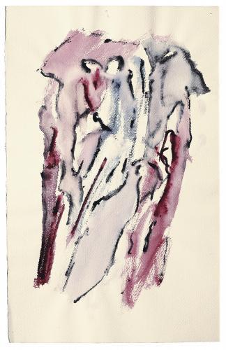 """Henri Michaux, """"Sans titre"""", 1973 acrílic sobre paper 50 x 32 cm"""