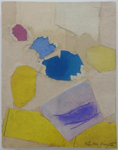 Esteban Vicente, 'Sin título' 1982 collage de papel, pastel, gouache y lápiz sobre cartón 25 x 20 cm