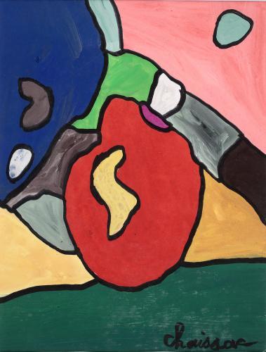 """Gaston Chaissac """"Composition"""" 1961 guaix sobre paper 31,3 x 24,2 cm"""