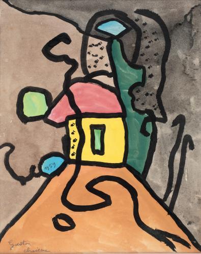 "Gaston Chaissac ""Paysage maison jaune"" 1959 guaix i tinta sobre paper 27 x 21 cm"