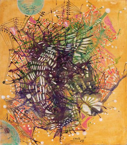 Magda Bolumar 'Sin título' 1963 ink and shellac on cardboard 25 x 22 cm