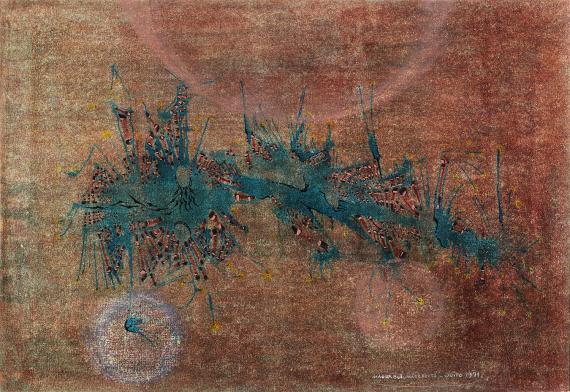 """Magda Bolumar, """"Sense títol"""", 1971 pintura acrílica, tinta i goma laca sobre cartolina 35 x 50 cm"""