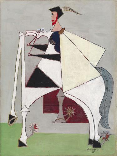 """Óscar Domínguez, """"Cavalier"""", 1949 oil on canvas 61,5 x 46 cm"""