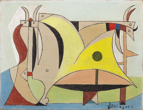 """Óscar Domínguez, """"Composición con toro y animales"""", c.1950 oli sobre tela 14 x 18 cm"""