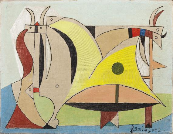 "Óscar Domínguez, ""Composición con toro y animales"", c.1950 óleo sobre tela 14 x 18 cm"