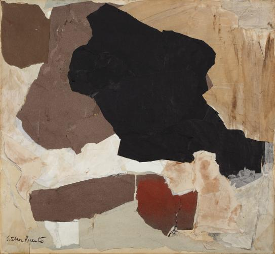 "Esteban Vicente, ""Black and White"", 1961 collage on canvas 60 x 65 cm"