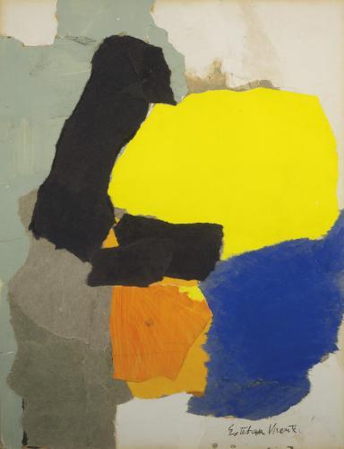 "Esteban Vicente, ""Collage with Yellow, Blue and Orange"", 1963 collage, paper i carbonet sobre cartró 69,5 x 53,5 cm (Col. Museo de Arte Contemporáneo Esteban Vicente, Segovia)"