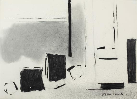 "Esteban Vicente, ""Sin título"", 1977 charcoal on paper 55 x 74 cm"