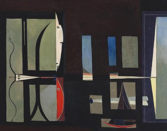 "Óscar Domínguez, ""El arquero"", c.1950 óleo sobre tela 73 x 92 cm"