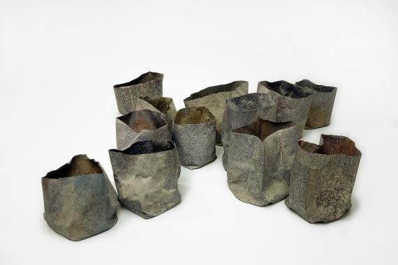 """Joan Furriols """"Dotze paperines en X"""", 2002 paper, pigments, pols de marbre i cola 13,5 x 59 x 58,5 cm"""