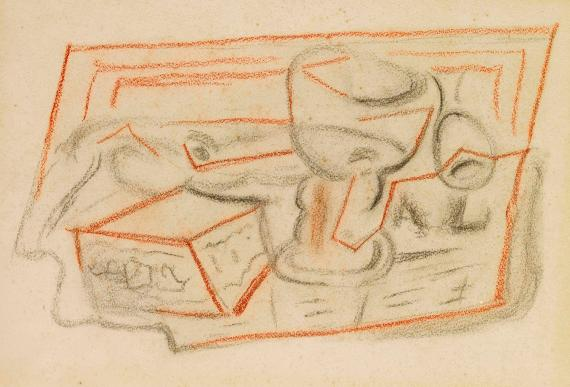Juan Gris, 'Verre, pipe et boites' 1924 charcoal on paper 25,7 x 31,4 cm