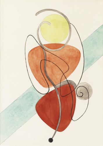 Auguste Herbin, 'Composition abstraite' aquarel·la sobre paper 34 x 24,5 cm