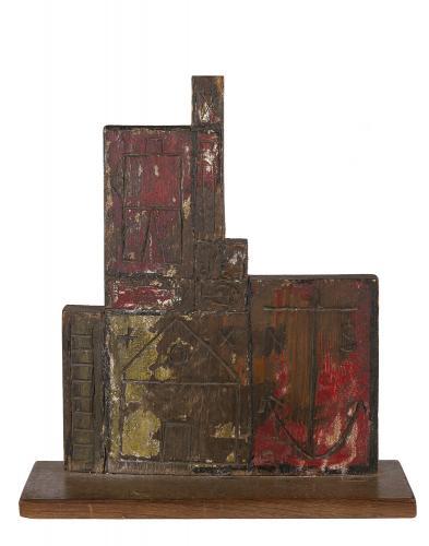 """Torres-García, """"Constructivo con hombre y objeto"""", 1930 oil on wood 39 x 34,5 x 9 cm"""