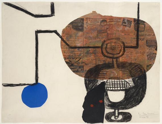 "Le Corbusier, ""Deux verres à pied"", 1954 collage and charcoal on sobre paper 47,5 x 62 cm © FLC/ADAGP Paris, 2017"