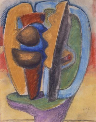 "Le Corbusier ""Etude pour sculpture Ubu-Panurge"", 1946 graphite and pastel on paper 27 x 21 cm © FLC/ADAGP Paris, 2017"
