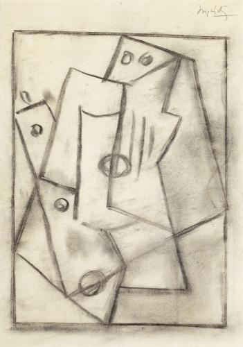 "Jacques Lipchitz, ""Study for a Bas Relief"", 1918, charcoal on paper, 34,9 x 24,1 cm"