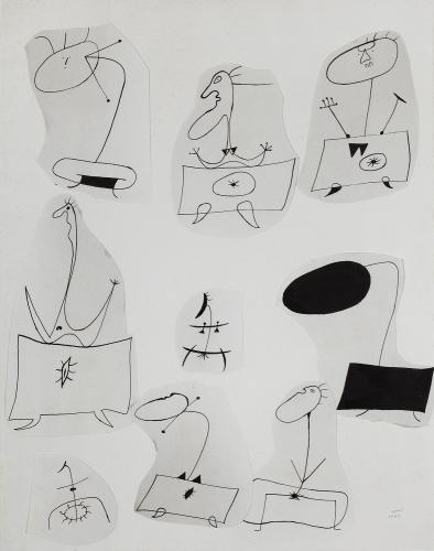 "Joan Miró ""Sense títol"" 1939 ink and collage on paper 64,1 x 49,6 cm"