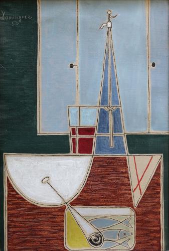 """Óscar Domínguez, """"Naturaleza muerta con sifón y lata de sardinas"""", 1950 oli sobre tela 32 x 22 cm"""