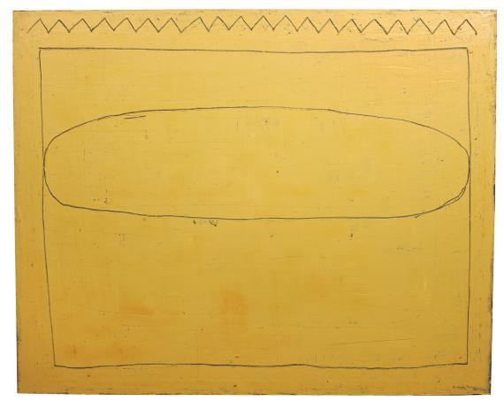 "H.Pijuan, ""Núvol sobre paisatge daurat"", 1993 oil on canvas 130 x 162 cm"