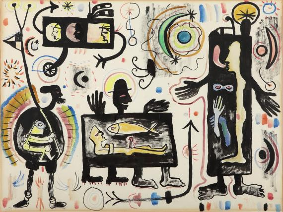 "Joan Ponç, ""Suite Al·lucinacions II"", 1947 ink and gouache on paper 49 x 64 cm"