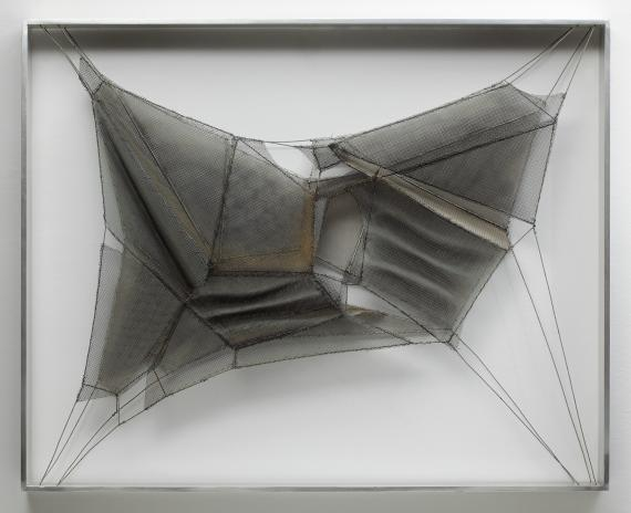 "Manuel Rivera, ""Tiritaña XI"", 1975 metal, wire and oil 65 x 81 cm"