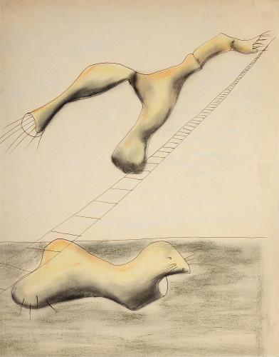 """Jaume Sans, """"Drawing for the work 'El benefactor trompeta'"""", 1932-1935 ink and pastel on paper 34,7 x 27 cm"""