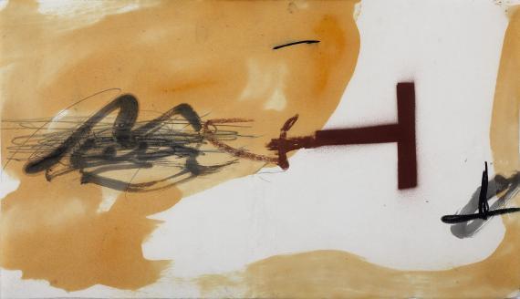 Joan Miró 'Maqueta de la cubierta del catálogo de la exposición....' 1981 pintura, barniz, lápiz sobre papel 25,5 x 44,3 cm