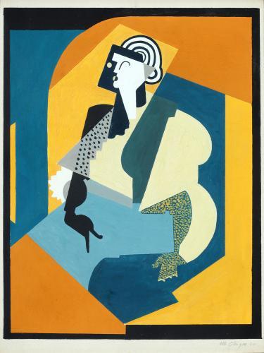 "Albert Gleizes, ""Femme au gant noir"", 1920 oil and gouache on carton 35 x 27 cm"