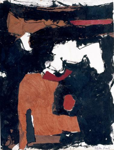 "Esteban Vicente, ""Sin título"", 1966 collage on paper on carton 52 x 39,5 cm"