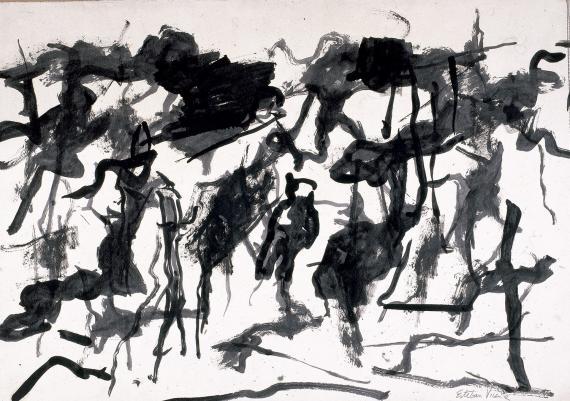 """Esteban Vicente, """"Sin título"""", 1967 tinta sobre paper 48,5 x 70 cm"""