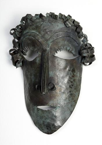 """Pablo Gargallo, """"Masque d'homme"""", 1910-11 cobre 11 cm alto"""