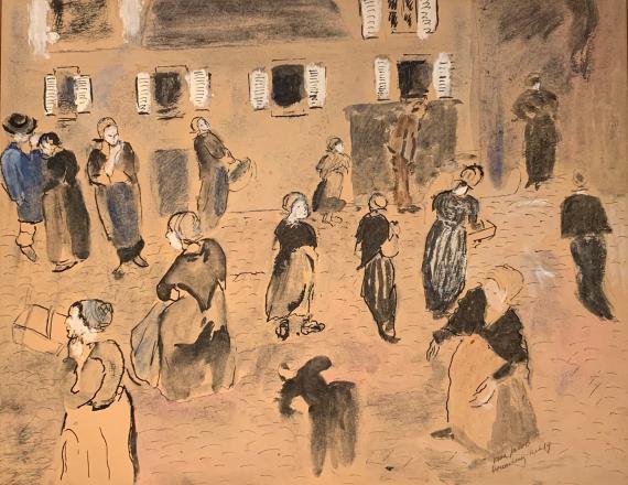 Max Jacob 'Le marché à Douarnenez'  1919 tinta y gouache sobre papel 28 x 36 cm
