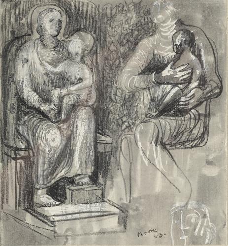 """Henry Moore, """"Madonna and child studies"""", 1943 ceras, tinta y carboncillo sobre papel 19,1 x 17,5 cm"""