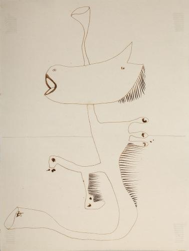 """Jaume Sans, """"Drawing for the work 'El benefactor trompeta'"""", 1932-1935 ink on paper 32 x 24 cm"""