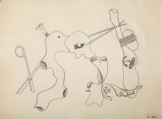 """Jaume Sans, """"Drawing for the work 'El benefactor trompeta'"""", 1933 pencil on paper 31 x 41,5 cm"""