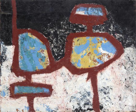 """Jaume Sans, """"Untitled"""", 1954-1957 oil on wood 59,5 x 72,5 cm"""