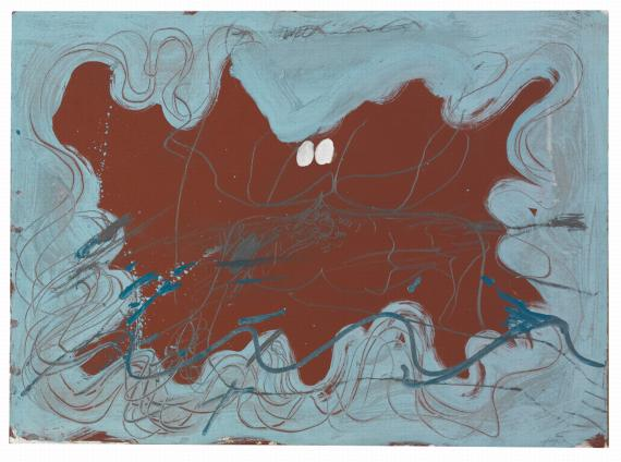 "Antoni Tàpies, ""Ondulacions blaves"", 1971, acrylic and pencil on paper on wood, 64,8 x 88,9 cm"
