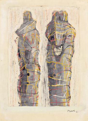 "Henry Moore, ""Two Wrapped Standing Figures"", 1951, gouache, watercolor, wax crayons and pencil on paper 37,9 x 27,8 cm"